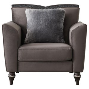 Glam Upholstered Chair with V-Shaped Wood Trim Back