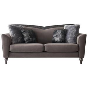 Glam Sofa with V-Shaped Wood Trim Back