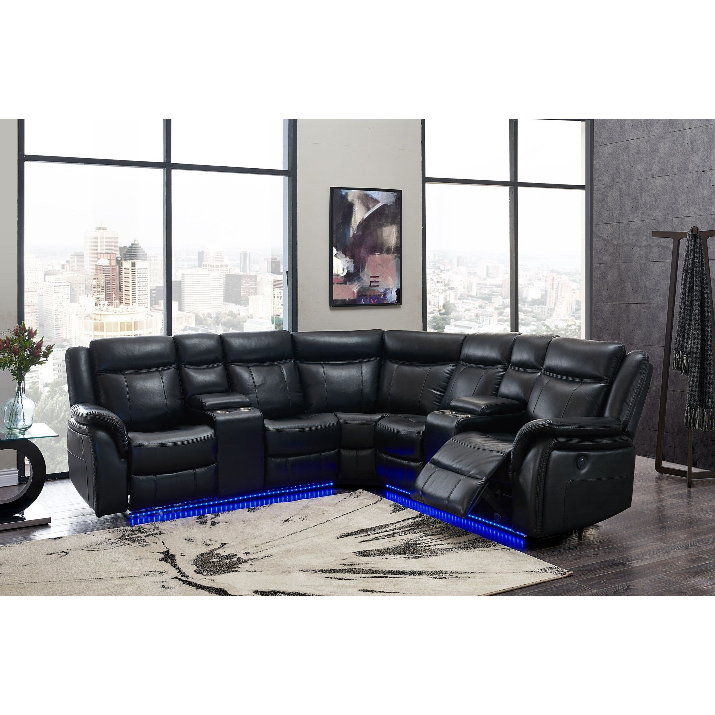 Picture of: Global Furniture Um02 Casual Power Reclining Sectional Sofa With Storage Console Cup Holders And Led Lighting Value City Furniture Sectional Sofas