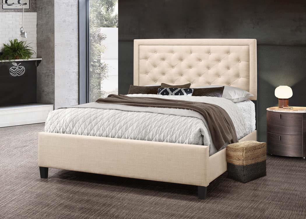Upholstered Bed - Beige