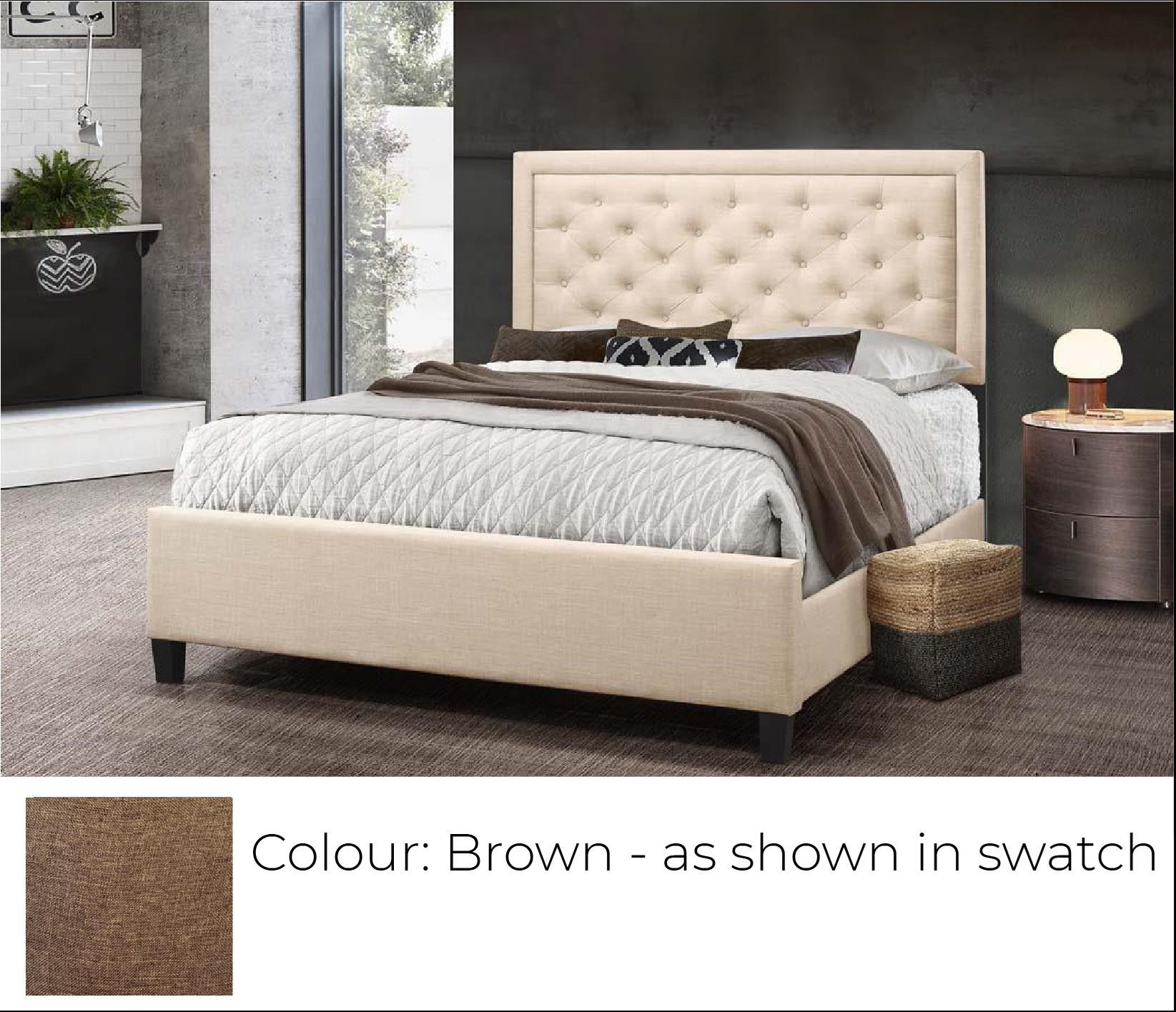 B622 Ready To Assemble Queen Upholstered Bed Brown Bennett S Furniture And Mattresses Upholstered Beds