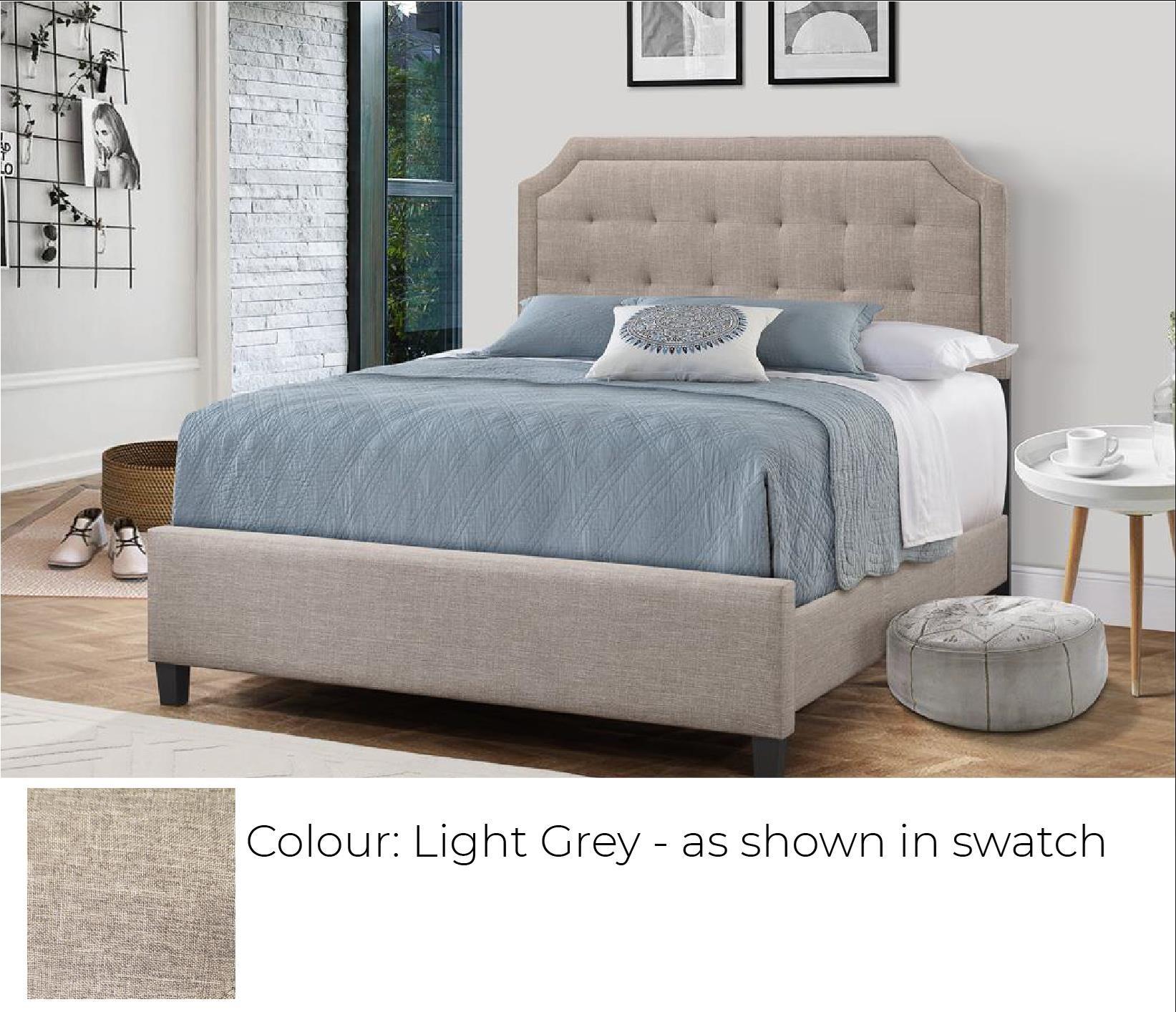 Upholstered Bed - Light Grey