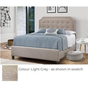 Upholstered Bed - Light Grey