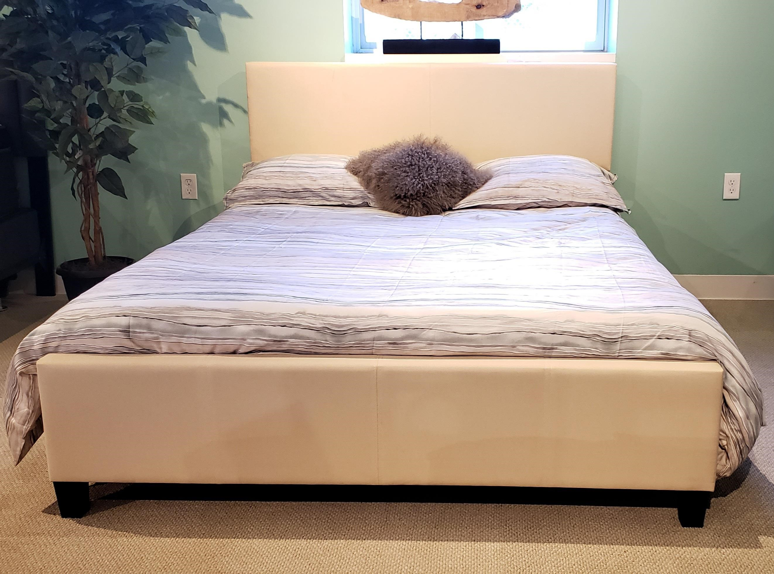 B690 - Ready to Assemble Upholstered Bed - Beige at Bennett's Furniture and Mattresses