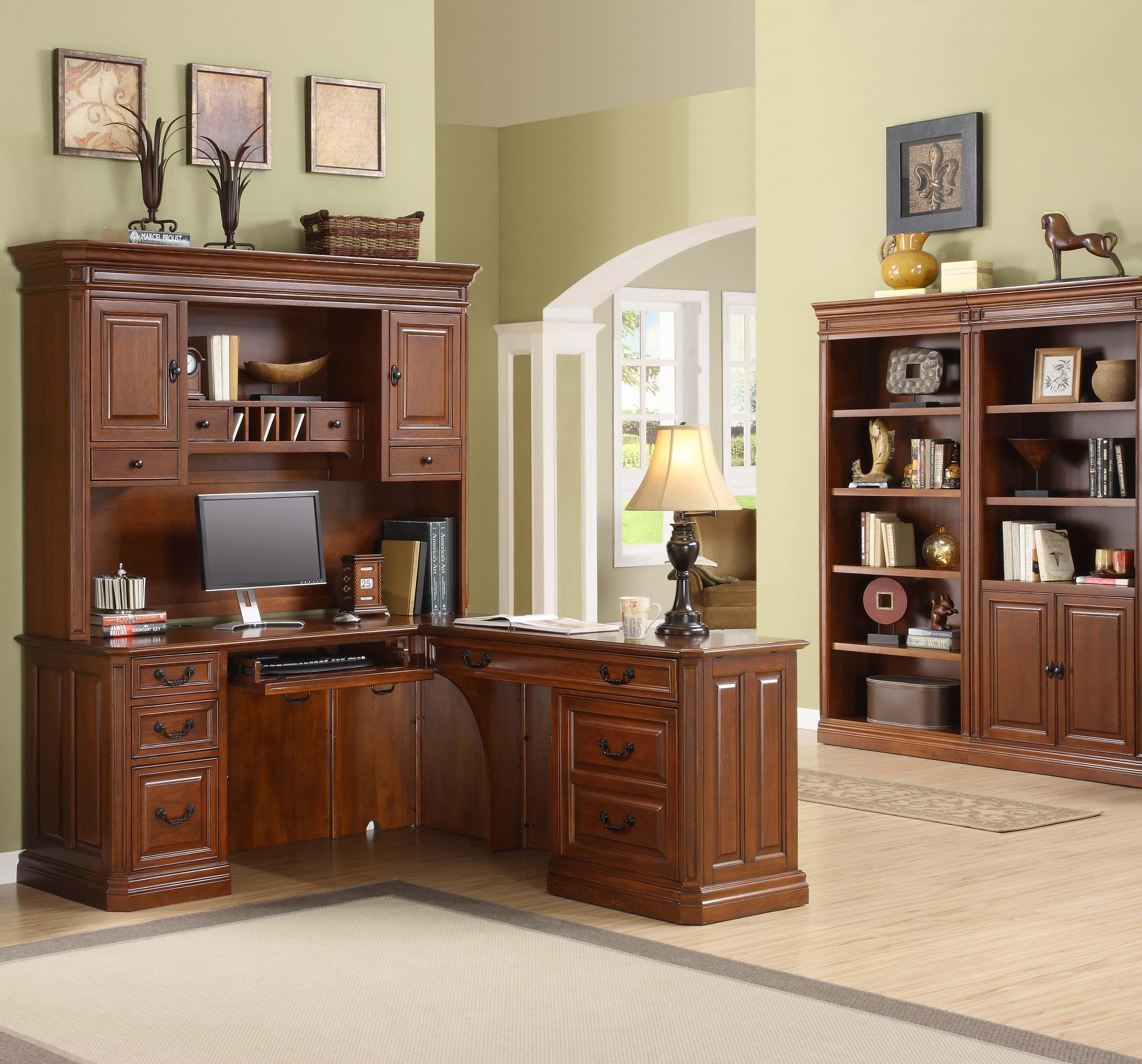 Golden Oak by Whalen Augusta Desk and Hutch - Item Number: AGCLD1+2+3+AG68EH