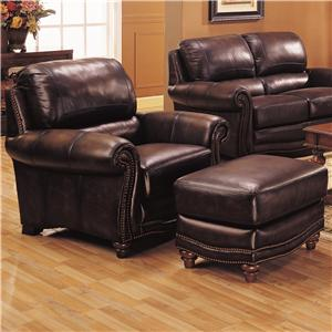 Gramercy Park Designs 5140 Leather Upholstered Chair and Ottoman with Nail Head Trim