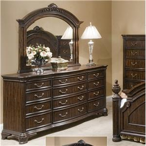 Great River Trading Co Cromwell 12 Drawer Dresser & Landscape Mirror Combo