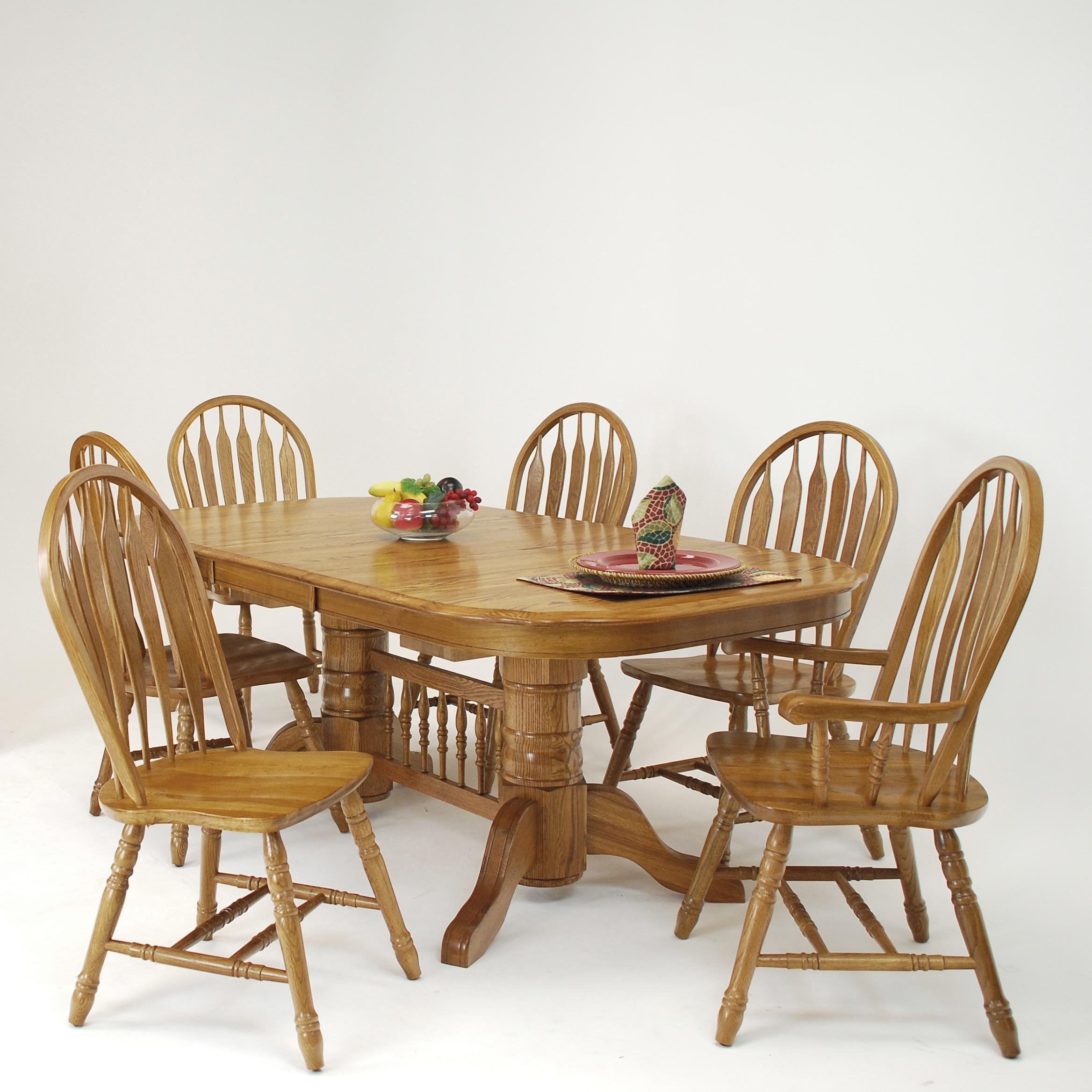 Piece Solid Oak Trestle Dining Table