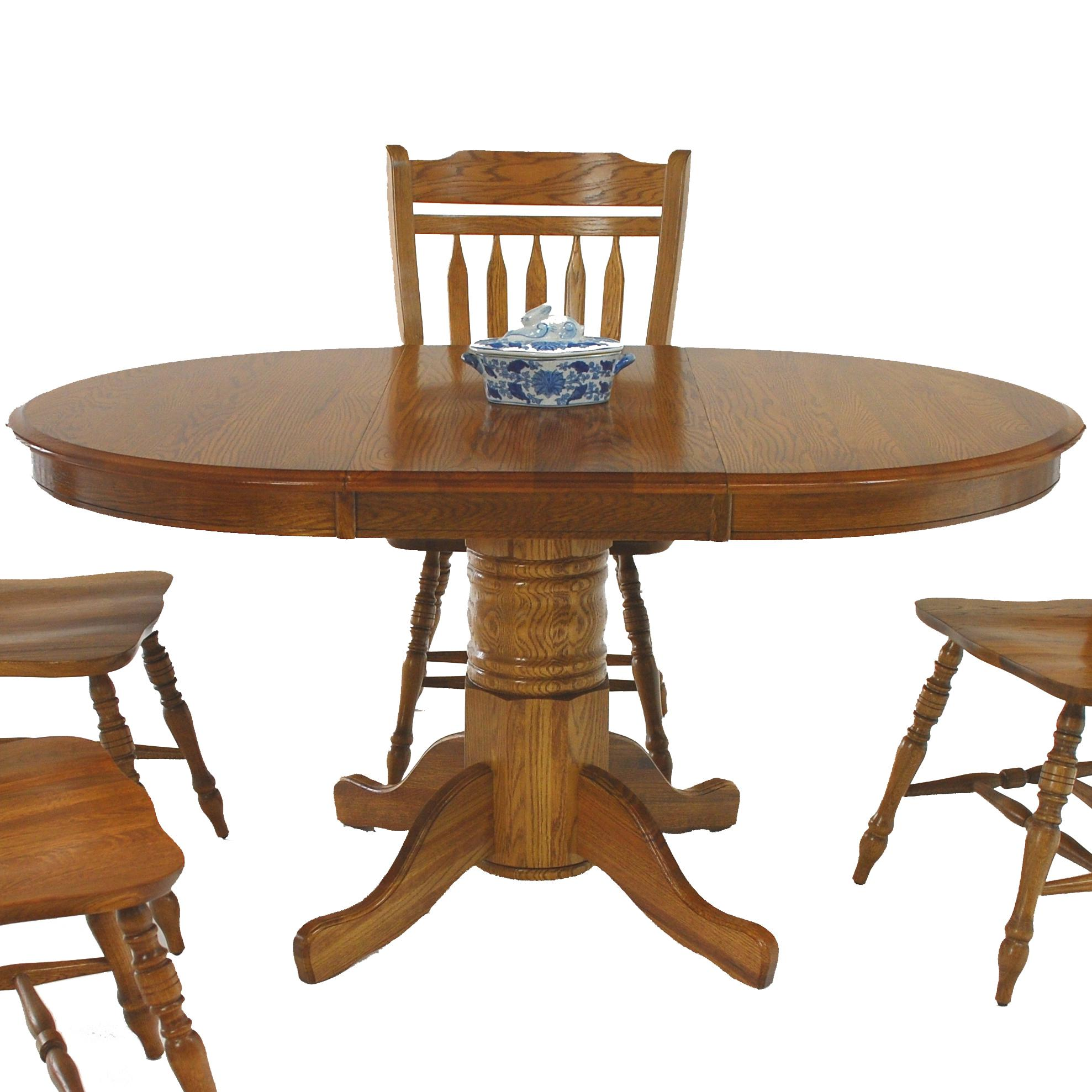 """Oval Pedestal Table with 18"""" Leaf"""