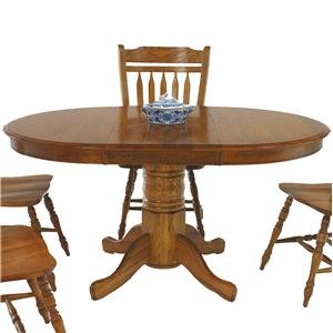 """GS Furniture American Classic Oval Pedestal Table with 18"""" Leaf"""