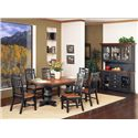 GS Furniture Riverside Slat Back Dining Side Chair - Slat Back Side Chair Shown with Slat Back Arm Chair, Double Pedestal Dining Table, and China Buffet Set