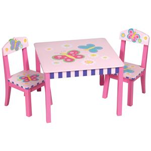 Guidecraft Butterfly Hand-Painted Table & Chairs Set