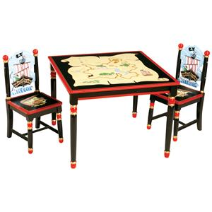 Guidecraft Pirate 3 Piece Child Table and Chair Set