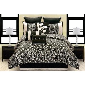 Hallmart Collectibles Fern Orchid Carrington 9 Piece Queen Comforter Set