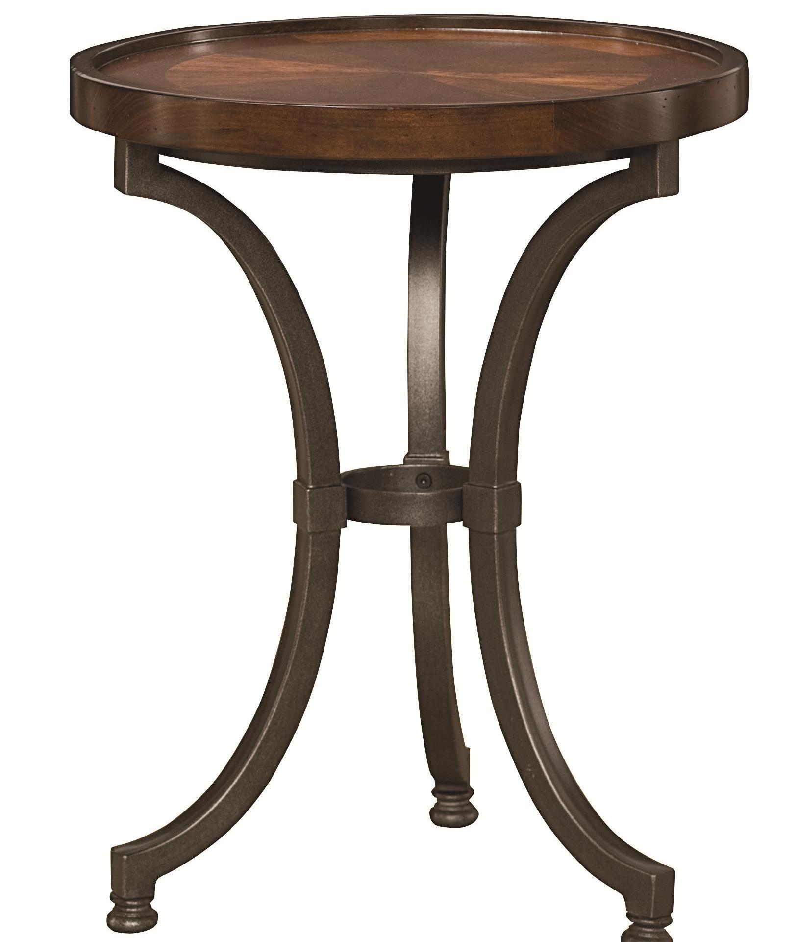 Hammary Barrow Round Chairside Table With Metal Base