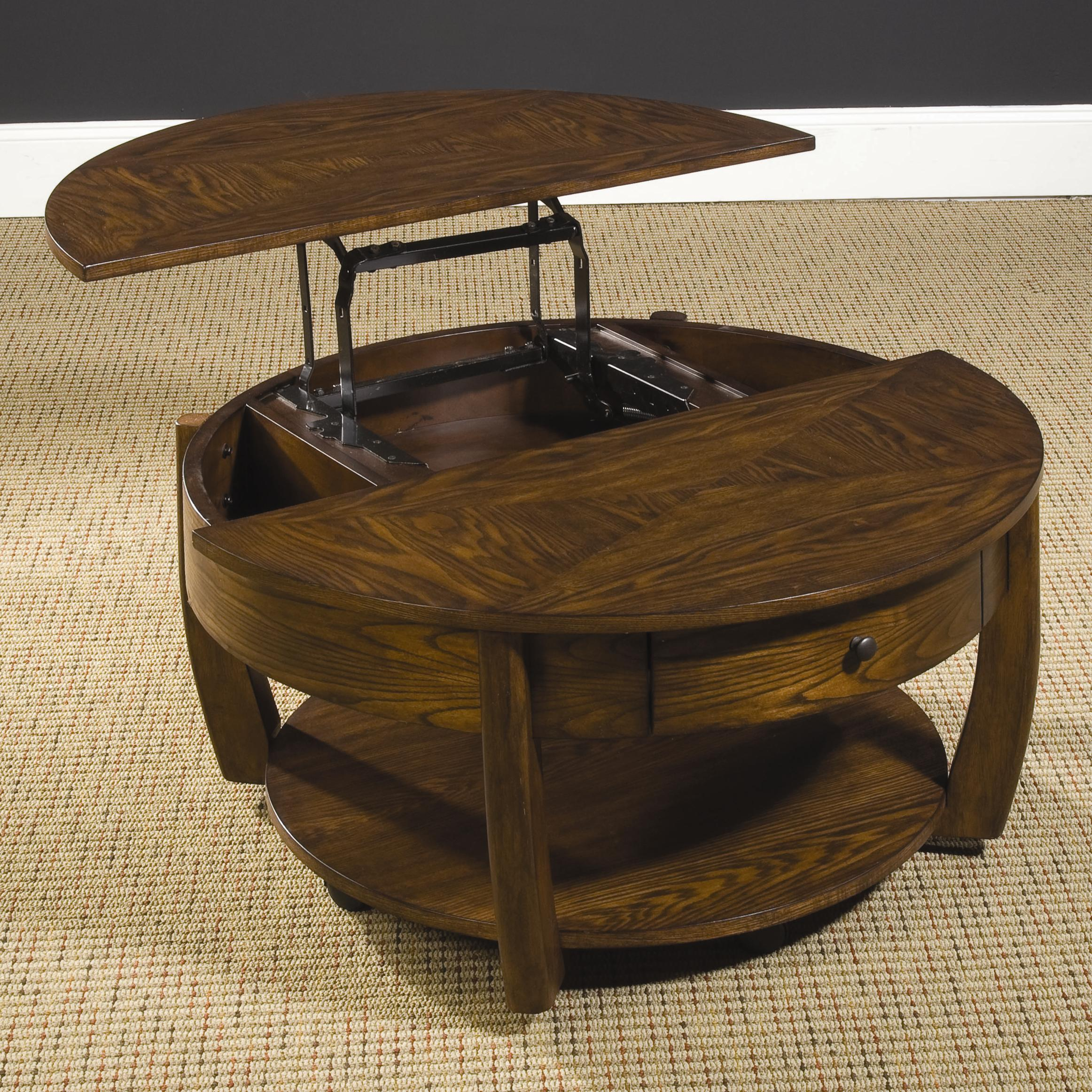 Hammary Concierge Round Lift Top Cocktail Table With Lower