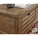 Hammary Elm Ridge Rustic Rectangular Cocktail Table with Storage Drawers and Casters