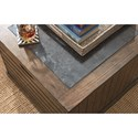 Hammary Elm Ridge Rustic Cube Cocktail Table with Casters and Blue Stone Insert