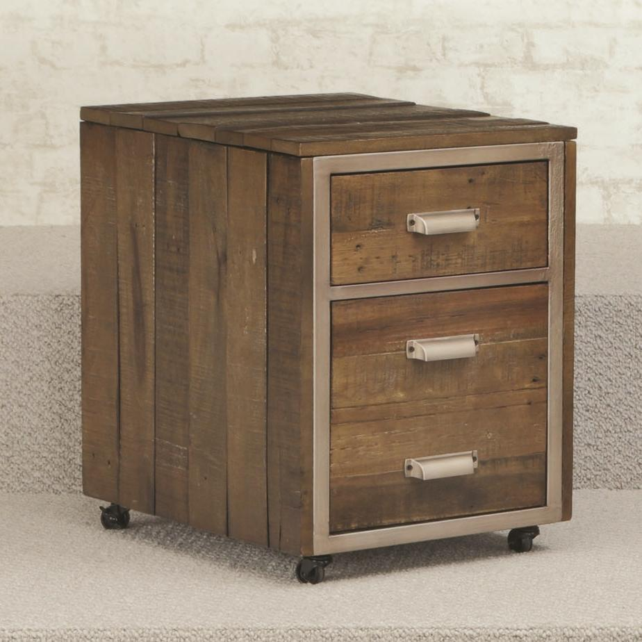 Flashback 2 Drawer Mobile File Cabinet With Metal Trim And Casters By Hammary Wolf Furniture