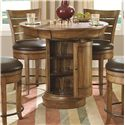 Morris Home Furnishings Hidden Treasures Oak Pub Table with Hidden Game Board Under Top - Shown with Door Open and with Pub Stool