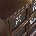 Hammary Hidden Treasures Blackboard Chest with 3 Drawers and Crown Molding - 090-514 - Detail of Table Top, Edge and Blackboard Drawer Fronts