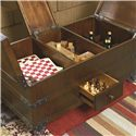 Hammary Hidden Treasures Trunk Cocktail Table with 3 Lift Tops and Storage Underneath - Shown with Flip Tops and Drawer Open