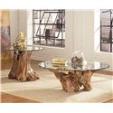 Hammary Hidden Treasures Root Ball Cocktail Table with Glass Top  - 090-555R - Shown with Root Ball End Table