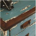 Hammary Hidden Treasures Blue Accent Chest with 3 Drawers, Rusted Metal Colored Hardware and Distressed Finish - 090-565 - Detail of Distressed Blue Painted Finish on Top, Edge and Drawer Fronts