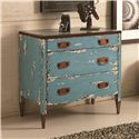 Hammary Hidden Treasures Blue Accent Chest with 3 Drawers, Rusted Metal Colored Hardware and Distressed Finish - 090-565