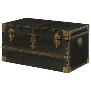 Hidden Treasures Travel Trunk Cocktail Table with Metal and Leather Accessories by Hammary