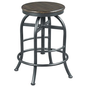 Industrial Adjustable Height Pub Stool with Wood Seat