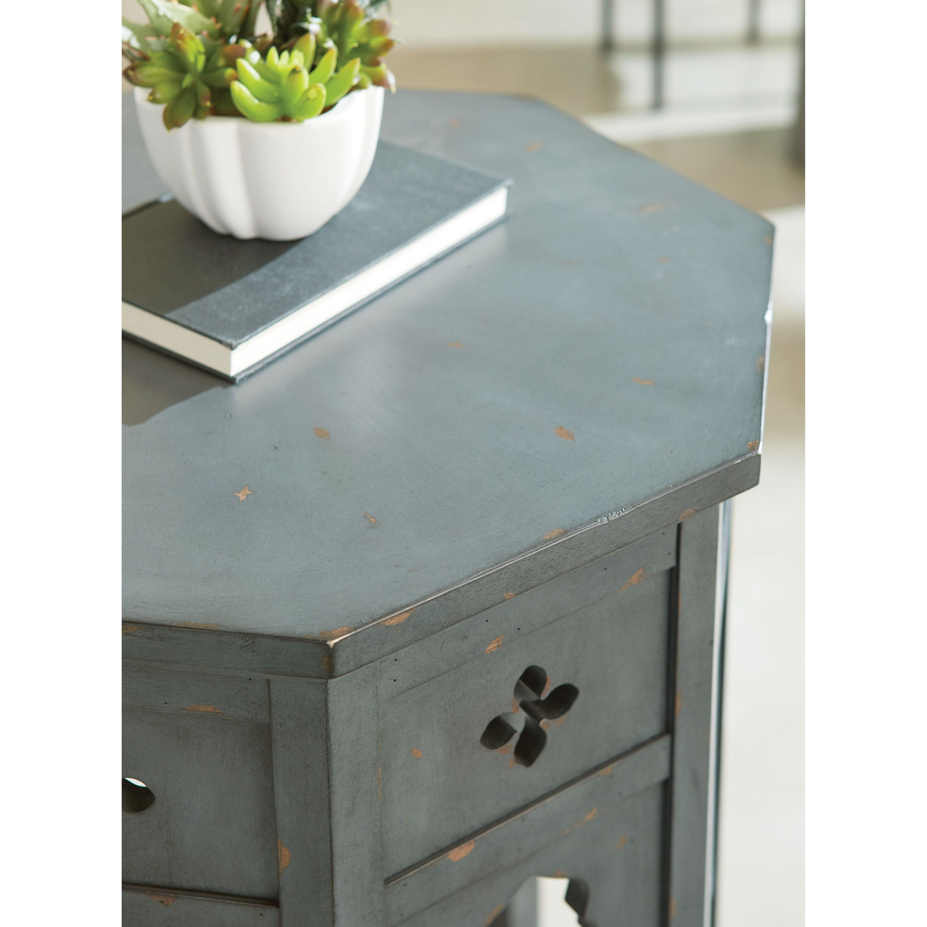 Hidden Treasures Transitional Hex End Table With