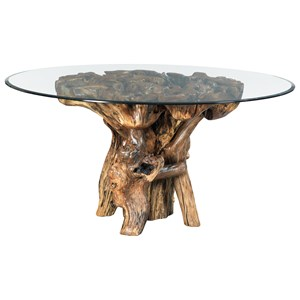 Rustic Root Ball Dining Table with Tempered Glass Top