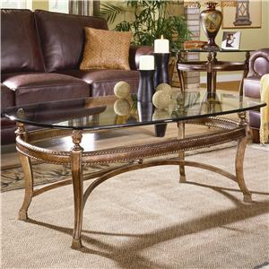 Suffolk Bay Rectangular Cocktail Table with Glass Top by Hammary
