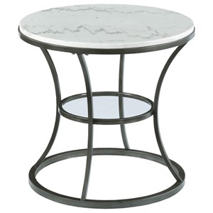 Morris Home Impact Marble Top Round End Table