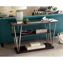 Hammary Jupiter Mid-Century Modern Sofa Table with Tempered Glass Table Top
