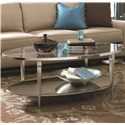 Hammary Mallory Oval Satin Nickel Antique Mirror Finish Cocktail Table