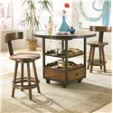 Hammary Americana Home Klismo Back Wood Stool - 114-692 - Shown with High Dining Table