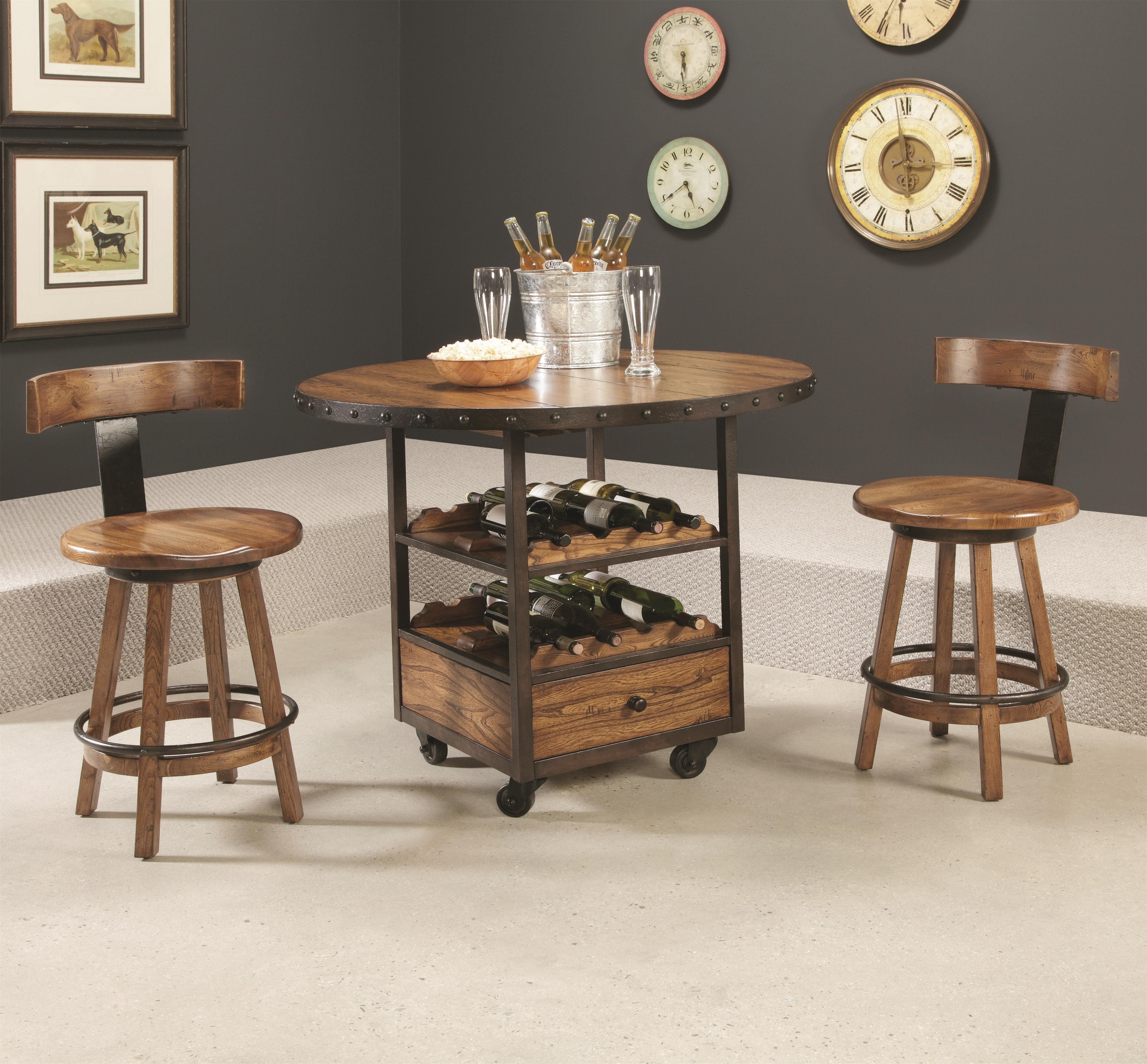 Hammary Americana Home 3 Piece Pub Table and Klismo Stool Set