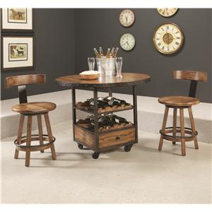 Americana Home 3 Piece Pub Table And Klismo Stool Set By Hammary