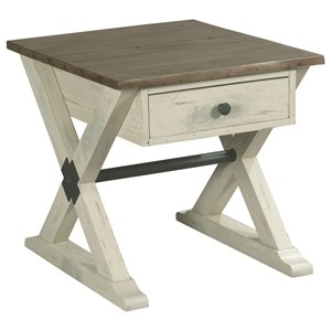 Hammary Reclamation Place                                  Trestle Drawer End Table