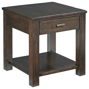 Hammary Reclamation Place Post & Beam Square Drawer End Table