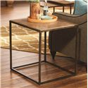 Hammary Soho Rectangular End Table with Rubbed Bronze Metal Base