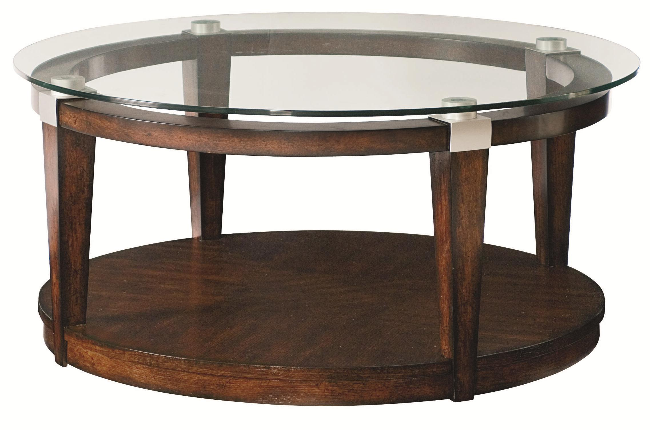Hammary solitaire contemporary round coffee table with glass top hudson 39 s furniture cocktail Glass contemporary coffee table