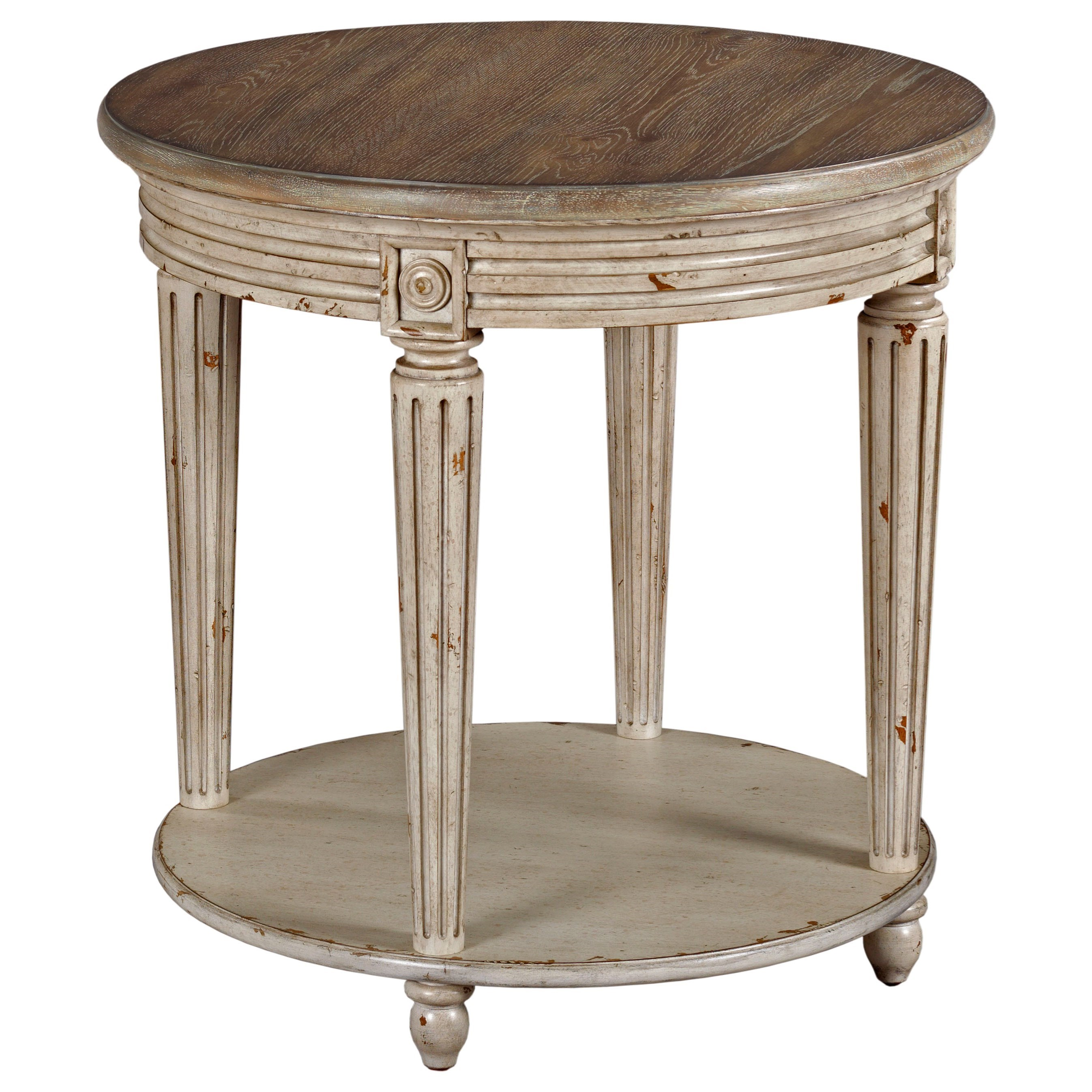 Hammary Southbury OCC Round End Table With Distressed Finish