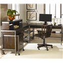 Hammary Structure Metal Computer Desk w/ Hutch - Computer Desk and Hutch Shown in Room Setting with Desk Chair, Corner Table and Mobile File Cabinet