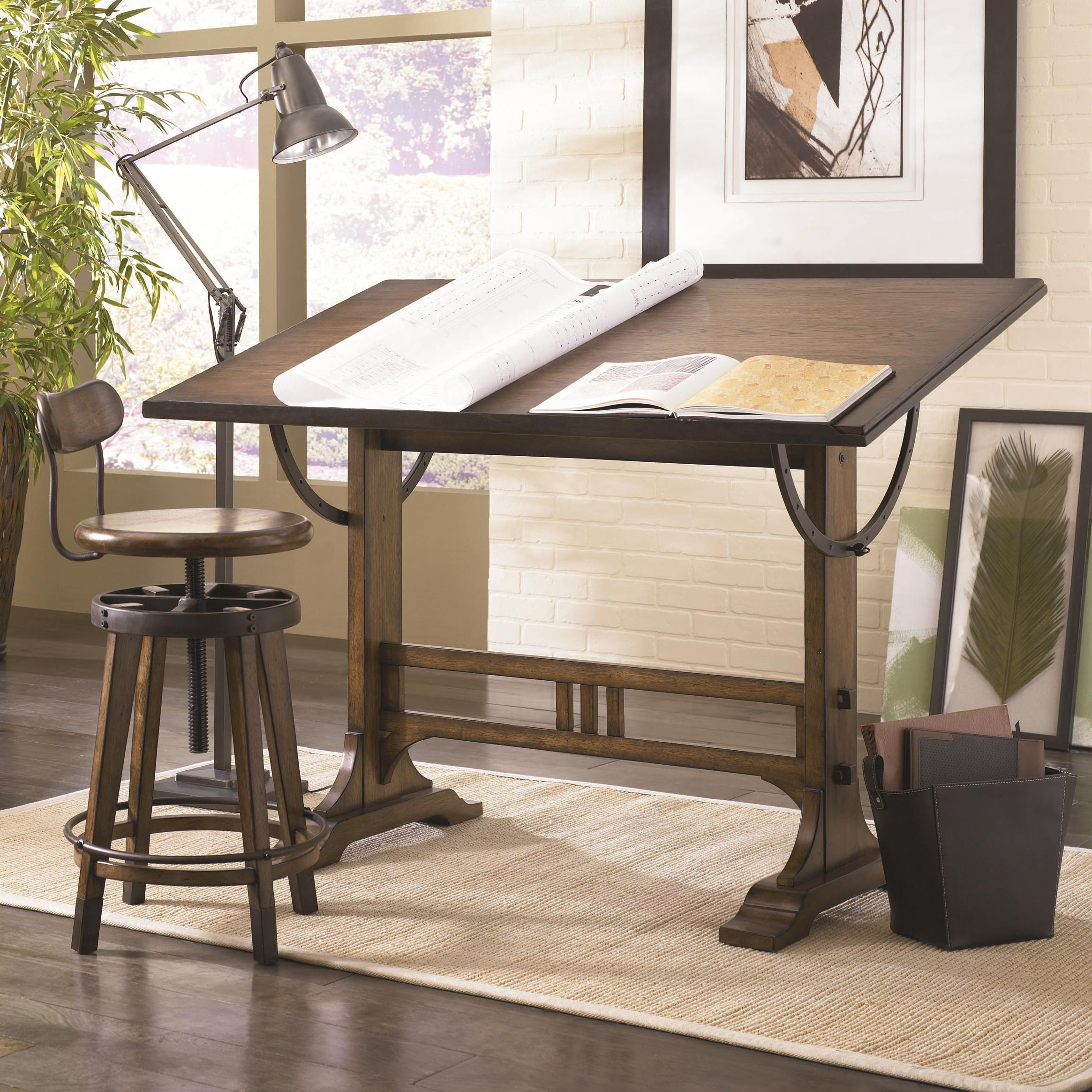 Hammary Studio Home Architect Desk And Adjustable Swivel