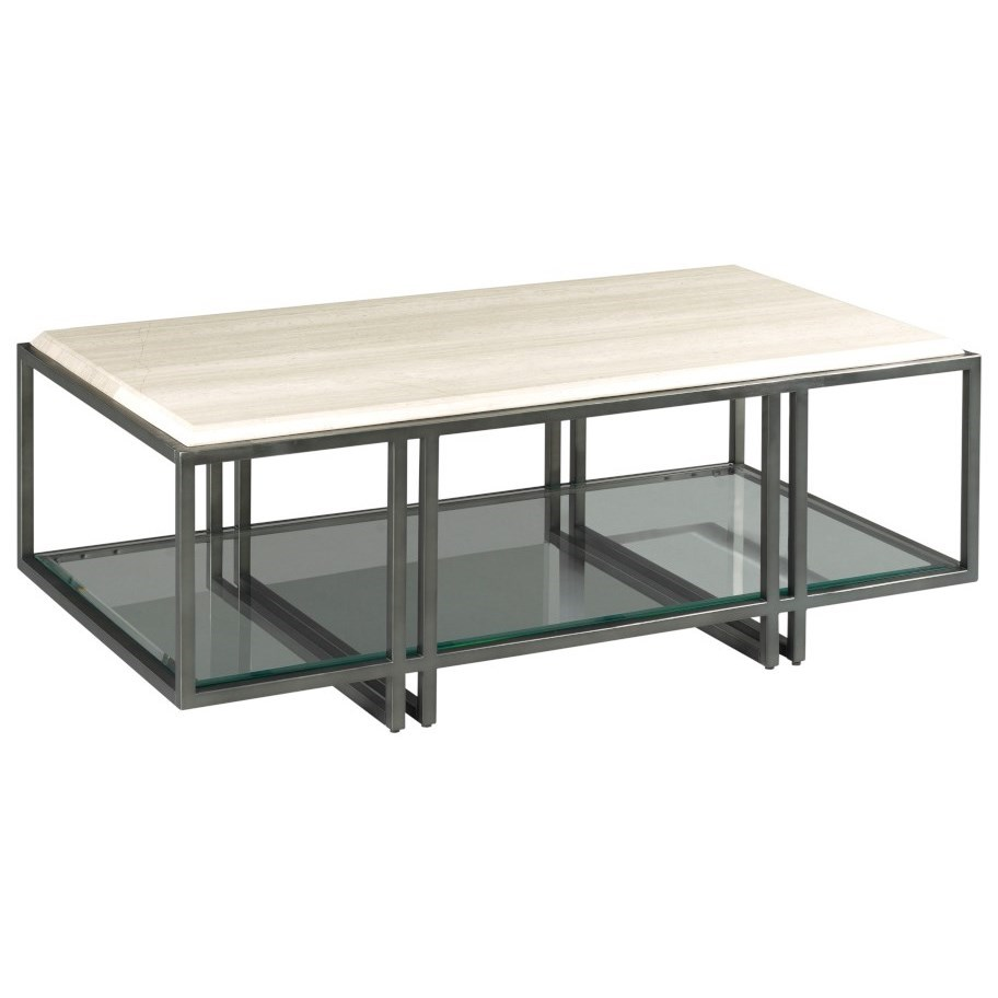 Hammary Tessa Contemporary Rectangular Coffee Table With Stone Top And Glass Shelf Lindy S Furniture Company Cocktail Coffee Tables