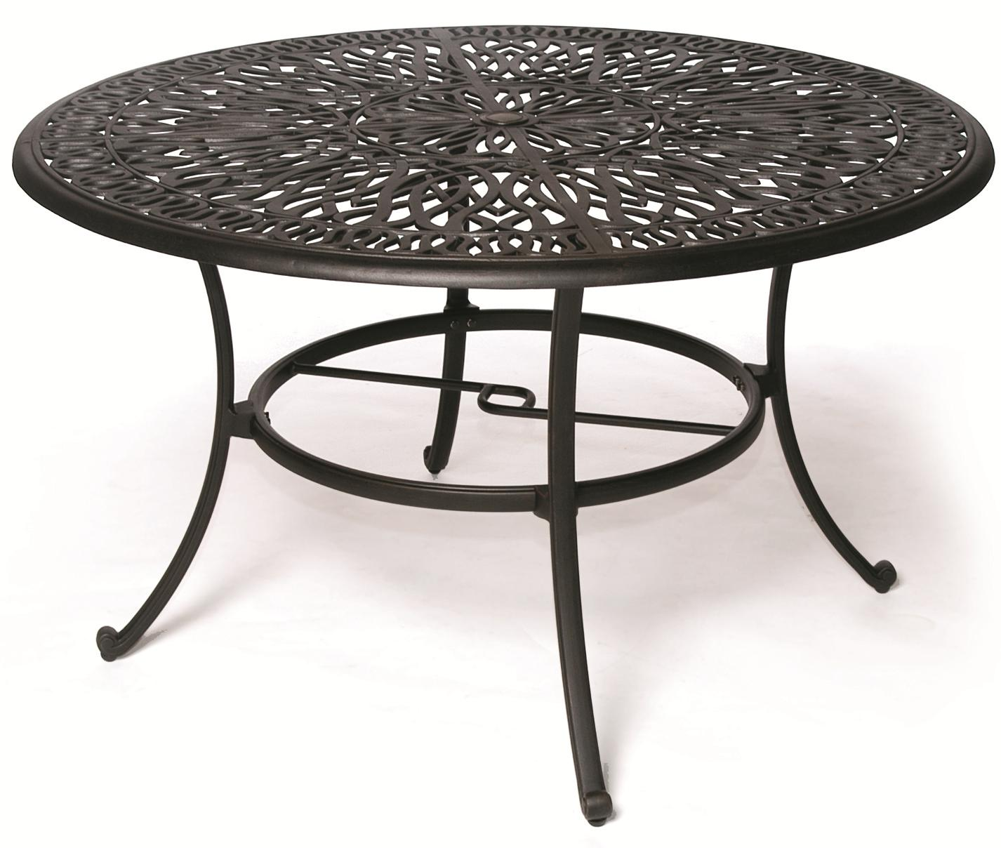 Biscayne Aluminum Round Dining Table With Scroll Legs By Hanamint