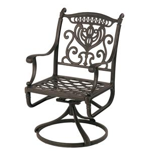 Grand Tuscany Outdoor Aluminum Swivel Chair with Scroll Arms by Hanamint